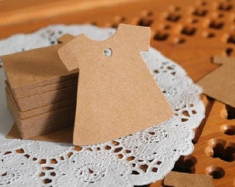 Dress shape gift tags / cardboard tags in set of 50