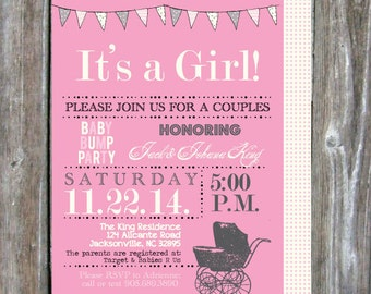 Couples Baby Shower Invitation -  Digital Download - BOY / GIRL - Pink or Blue  - Baby Carriage