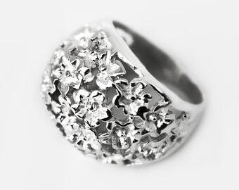 Silver Ring a thousand of flowers sterling-sweet-femenine