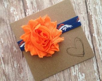 Broncos Shabby Flower Headband, Football, Flower Headband, Broncos Headband, Denver