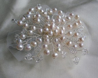 Bridal Hair Comb  -  Handmade with Tulle, Freshwater Pearls & Swarovski Crystal