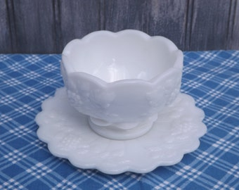 Vintage Milk Glass Saucer and Cup/Pressed Glass
