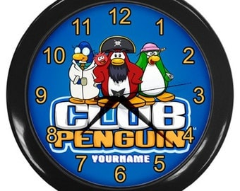 Club Penguin Personalized Wall Clock Home Decor - Great Birthday Gift Girl and Boy