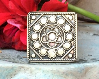 Tribal silver square ring adjustable