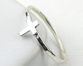 Tiny Cross Ring, Sterling Silver Ring, Silver Cross Ring, Stacking Ring, Crucifix Ring, Modern Ring, Sterling Silver Jewellery