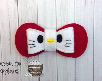 Pretty Kitty Inspired Felt Bow Embellishment ITH In the Hoop Embroidery Design