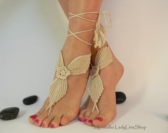 Ivory Crochet Barefoot Sandals, Anklet Barefoot Sandle, Foot jewelry, Steampunk, Irish Lace, Foot Thongs