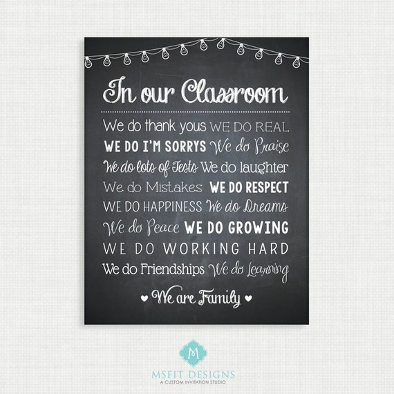 Printable Wall Art- Teacher Classroom Rules Print - Teacher Printable Art - Wall Decor  -11x14  Instant Digital Download