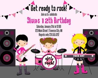 Girls Rockstar Invitation - Rockstar Birthday Party Invitation - Choose Your Hair Color