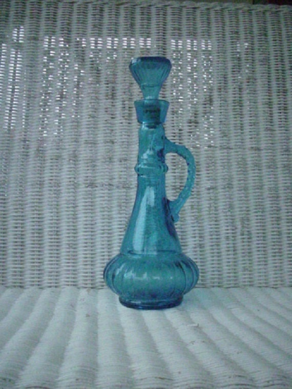 1970s Jim Beam Blue Glass Bottle Decanter