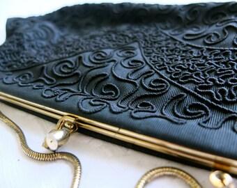 1940s vintage clutch purse / black Corde clutch / black evening purse