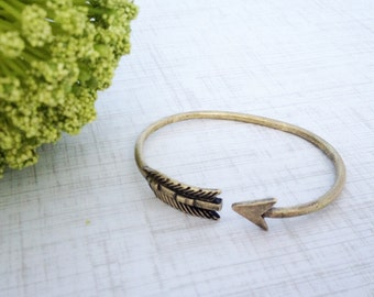 Gold Arrow Adjustable Brass Cuff Bracelet