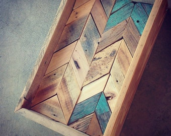hand-crafted reclaimed WOOD herringbone TRAY