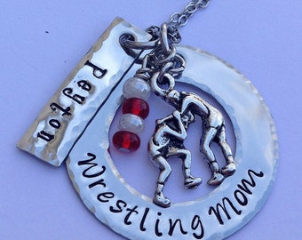 Wrestling Mom (or any sport) Necklace personalized with child's name