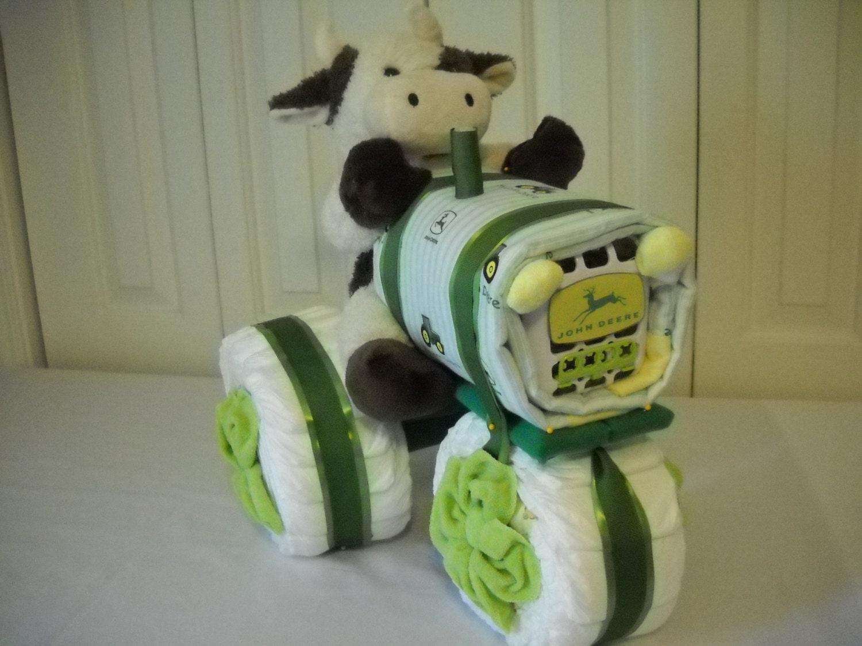 John Deere Tractor Diaper Cake by ShelvasDiaperCakes on Etsy