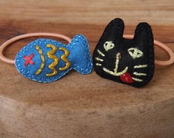 Felt Ponytail Holders ﹣ Cat and Fish