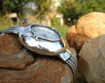 Handcrafted 925 Sterling Silver Watch Chain Bracelet, Unique Design by Poran, Artistic Jewelry, Made In Israel