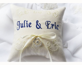 Rhinestone Ring bearer pillow, wedding ring pillow , personalized ring pillow , embroidery wedding pillow (R78)
