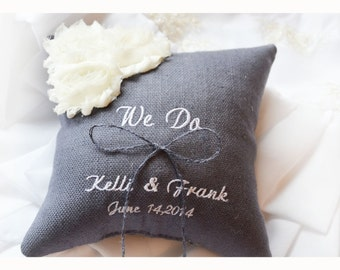We Do Wedding ring pillow , ring beare pillow ,  ring pillow with flowers , personalized wedding pillow (R79)