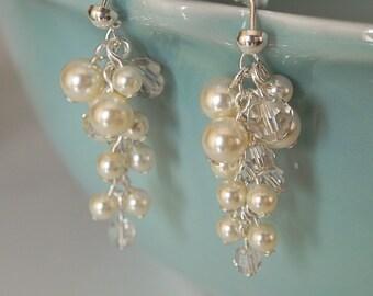 Bridal Pearl Cluster Earrings, bridal stud earrings, wedding, bride, elegant cluster earrings, Allie Bridal Earrings