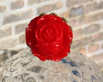 Flower Ring, Red Rose Ring, Flower Girl Jewelry, Adjustable Ring, Holiday Gift, Gift for Mom, Handmade Ring, Gift for Her, Bridal Jewelry