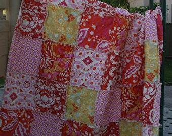 Full Size Rag Quilt, Pink, Red, White, Yellow, Feminine and Lovely, Handmade, Designer, All natural
