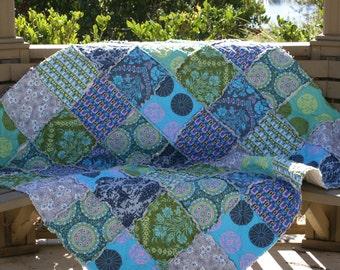 Rag Quilt - Picnic Quilt - Blue Quilt - Green Quilt - Olive Quilt - Navy Blue Quilt - 2nd Anniversary Gift - Cotton Anniversary
