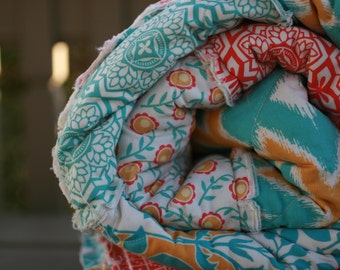 Rag Quilt - Picnic Quilt - Picnic Blanket - Rustic Blanket - Coral Quilt - Teal Quilt - 2nd Anniversary Gift -Cotton Anniversary Gift