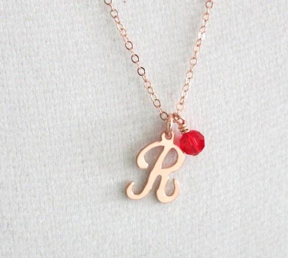 Personalized Rose Gold Letter necklace - rose gold filled necklace, forever love, Swarovski heart crystal, best friend, sister - N0038RG