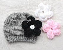 Knit Baby Hat, Cable Baby Hat, Gray Baby Hat, Gray Cable Baby Girl Hat with 3 REMOVABLE flowers