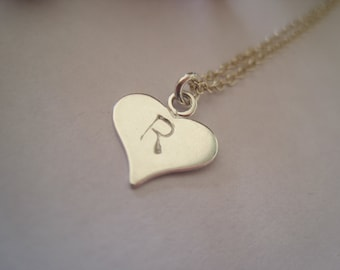 Sterling Silver Hand Stamped Initial Heart Necklace - perfect for a wedding or christening gift