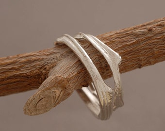 Sterling Silver Wedding Ring Set, Unique Wedding Bands, Bridal Jewelry, Tree Branch Rings BE35a