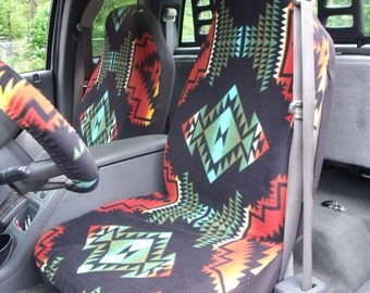 1 Set of Aztec Print, Seat Covers and Steering Wheel Cover Custom Made.