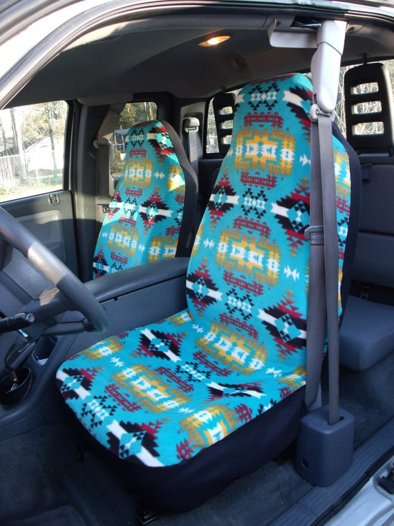 1 Set of WinterFleece Canyon Turquoise Print, Seat Covers and Steering Wheel Cover Custom Made