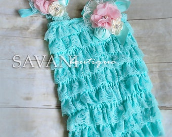 baby lace outfit, 3pcs set, aqua pink  lace romper set. Lace Petti Romper , headband and clip, Baby Girl Photo Prop