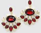1920's Great Gatsby Inspired Red Earrings, Vintage Rhinestone Earrings, Art Deco Earrings