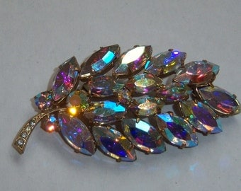 Rainbow AB Leaf Brooch. Colorful Aurora Borealis Pin.