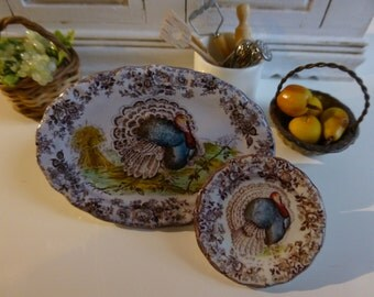 Tonquin Brown - Clarice Cliff Turkey Dollhouse Miniature Plate