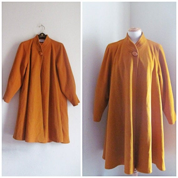 Big Band Mustard Yellow Swing Coat // 1990s I. Magnin Swing Coat
