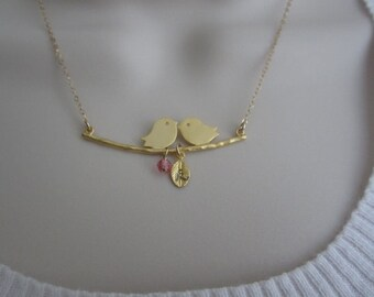 Gold Bird Necklace. Personalized Jewelry. 1.2.3.4.Initial Baby Charms. Birthstone Necklace. Gift for Moms. Wife.Baby Shower Gift for New Mom