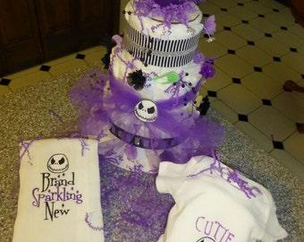 jack skellington diaper cake with c ustom onesie burp cloth adorable