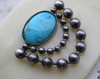 Beautiful Antique french Sterling silver brooch blue turquoise  bakelite brooch sterlingsilver ball chain
