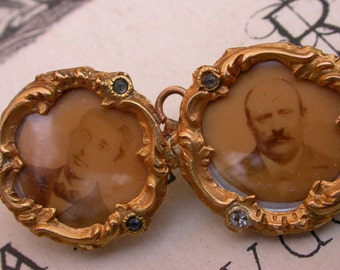 French antique  solid18k gold twin photo holder pendant brooch ornate napoleon III empire design mother of pearl photo miniature portrait