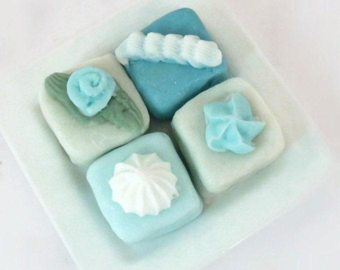 Blue Petit Four Soaps - Set of Four