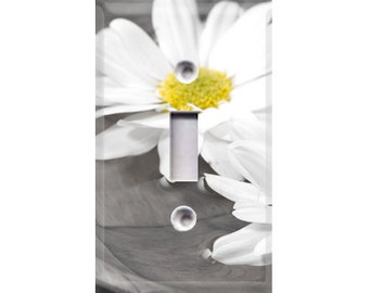 Black and White Flower Light Switch Cover
