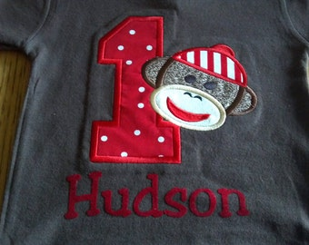 Sock monkey birthday t-shirt