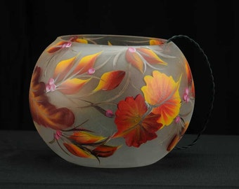 "Hand Painted Lighted 8"" Bubble Ball / Decorative Lamp / Fall Home Decor"