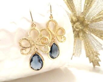 Navy Blue Earrings Gold Earrings Sapphire Blue Wedding Jewelry Navy Bridesmaid Earrings Something Blue Bridal Jewelry Gold Dangle Earrings