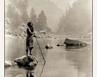 """Hupa Indian fishing 1923    8""""x10"""""""