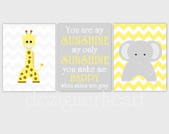 Baby Nursery Wall Art Yellow Gray Grey Chevron Elephant Giraffe Baby Boy Baby Girl Decor Baby Nursery Decor Baby Nursery Prints Wall Decor